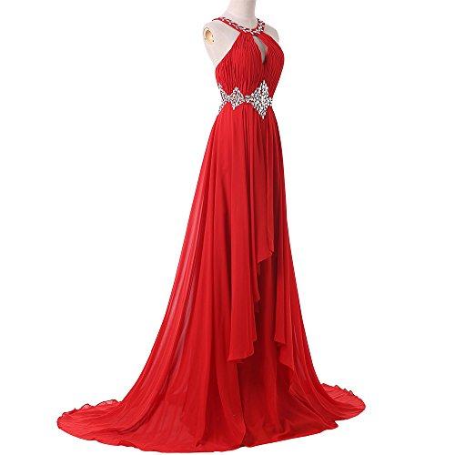 Bridal_Mall - Vestido - trapecio - Sin mangas - para mujer rojo 40