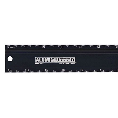 Alumicolor Alumicutter, Safety Ruler and Straight Edge, Aluminum, 12 inches, Black (1312-9) - Edge Safety Ruler