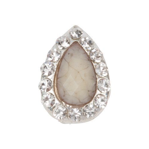 Zink Color Nail Art Luxe/Bridal White Jade Droplet Cabochon ()