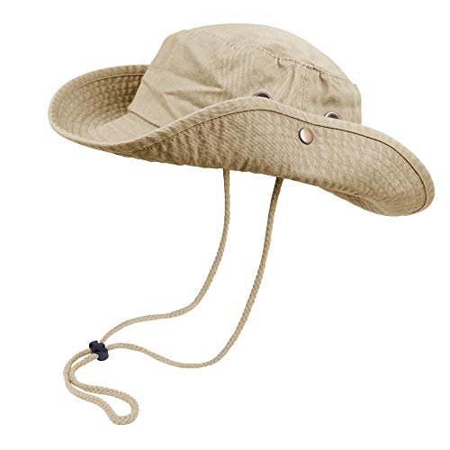 Bucket Hat Hiking Fishing Wide Brim UV Sun Protection Safari Unisex Boonie (Camel, Large/X-Large)