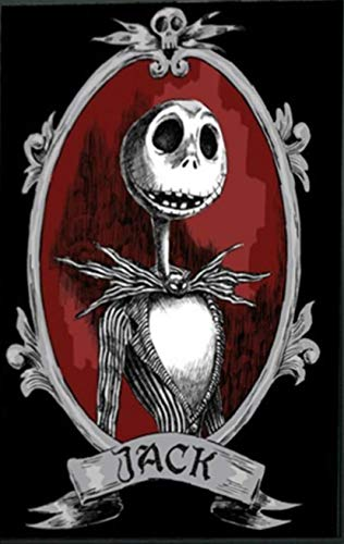 5D Full Drill Diamond Painting Kit, Jack Skellington Halloween Skull 16x12In DIY Diamond Painting by Number Kits Cross Stitch Rhinestone Embroidery Picture Arts Craft for Home Decor]()