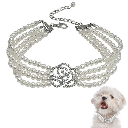 Stock Show Pet Cute Pearls Collar Necklace Dogs Bling Jewelry Necklace with Rhinestone Rose Flower Pendant Dog Cat Fancy Princess Wedding Collar for Small Dogs Cats Kitten Puppy Rabbits, White, L (Pet Jewelry For Dogs)