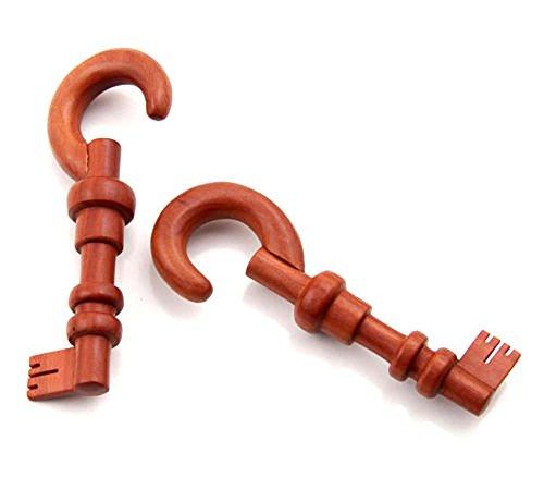 Pincher Plug - Pair Organic Sawo Wood Skeleton Key Design Ear Hanging Hook plugs Gauges Taper Pincher Hanging Earplug