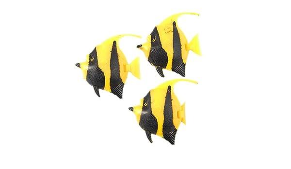 Amazon.com: eDealMax Jardin acuario de plástico que Flota pescado Decoración, 3 piezas, Negro Amarillo: Pet Supplies