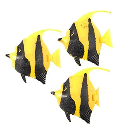 eDealMax Jardin acuario de plástico que Flota pescado Decoración, 3 piezas, Negro Amarillo