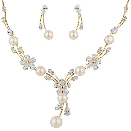 - EleQueen Women's Cubic Zirconia Simulated Pearl Flower Bridal Necklace Earrings Jewelry Set Ivory Color Gold-Tone