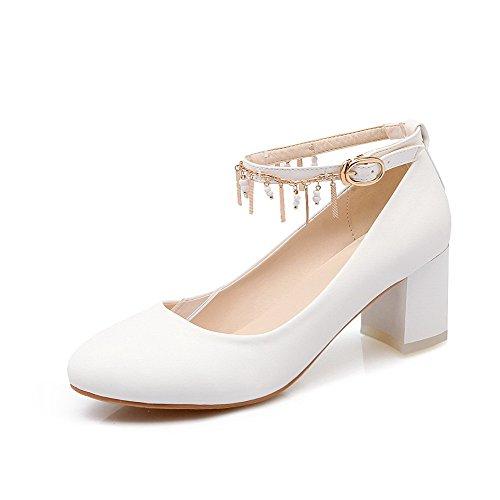 AllhqFashion Damen Eingelegt Mittler Absatz Rund Zehe Schnalle Pumps Schuhe Weiß