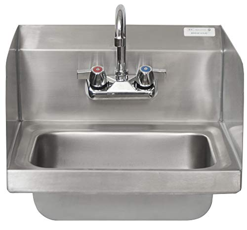 BK Resources BKHS-W-1410-SS-P-G Wall Mounted Stainless Steel Hand Sink with Faucet and Side Splashes, 14