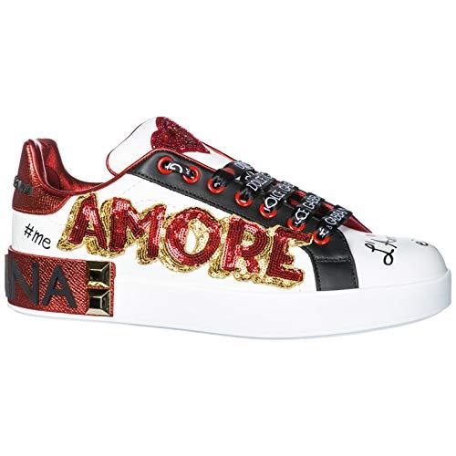 Chaussures Cuir En Baskets Bianco Femme Portofino amp; Gabbana Blanc Sneakers Dolce UqSBZ0