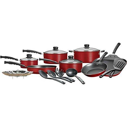 Mainstays 18-Piece Nonstick Cookware Set, Red