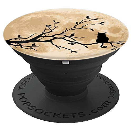 Cute Halloween Silhouette Black Cat Full Moon - PopSockets Grip and Stand for Phones and Tablets
