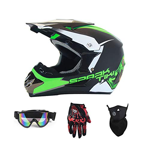 Motocross Crash Helmet with Goggles Gloves Mask, DH Off-Road Enduro ATV BMX MTB Downhill Dirt Bikes Quad Motorbike Cross Country Helmet for Men Women,Green,L (Best Mtb Enduro Gloves)