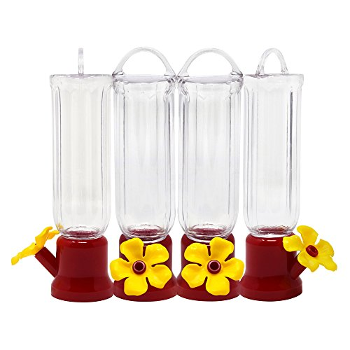 (Gray Bunny GB-6846B Mini Hummingbird Feeders, Set of 4, Includes Hangi, Transparent )