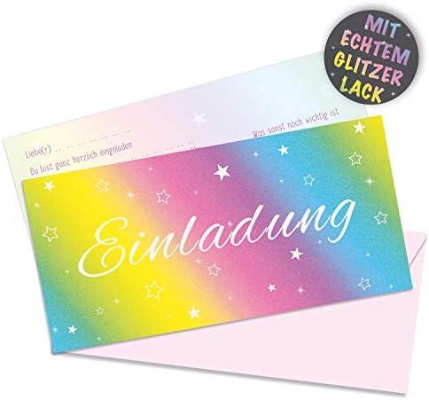 [Gesponsert]10 x Glitzer Einladungskarten von Urdays mit passenden Umschlägen | vorgedruckte, bunte Regenbogen Geburtstagskarten mit echtem Glitzer | Rainbow Design mit Sternen Glitter Effekt für Geburtstag