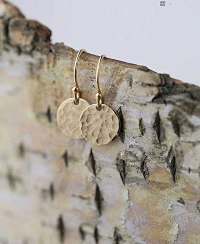 Keira Jewelry Hammered Gold Earrings, Small Gold,Tiny Gold Dot Earrings,Christmas Gift for Her,14k Gold Filled Coin Disc Earrings.