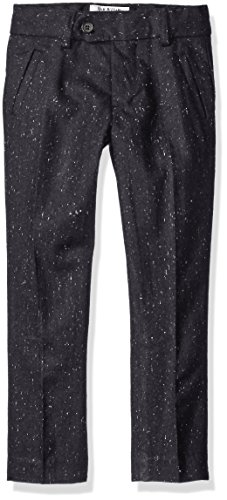 Isaac Mizrahi Boys' Little Boys' Tweed Wool Blend Dress Pants, Black, 7 Wool Tweed Pants