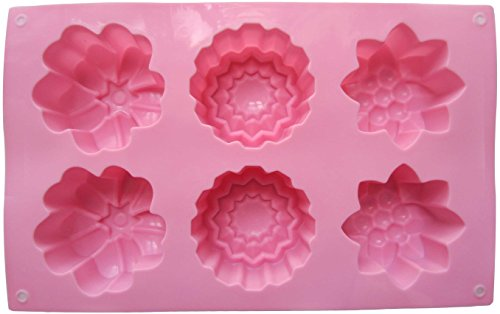 LeBeila 6 Cavities Big Flower Silicone Non Stick Cake Baking Mold Cake Pan Muffin Cups Handmade Soap Moulds Biscuit Chocolate Ice Cube Tray DIY Mold (Pink)