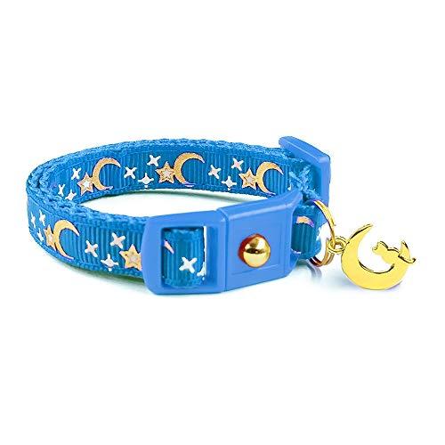 waaag Pet Collar Gold Moons Stars Cat Collar, Breakaway Cat Collar, Glow in The Dark (Royal Blue, 6.5