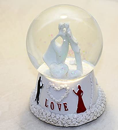 Lilone Valentine Special White Love Couple Rotating Dome With Music Showpiece Gift For Anniversary Birthday