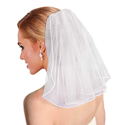 Bridal Wedding Veil Short with Comb Tulle for Bachelorette Party 38cm/15
