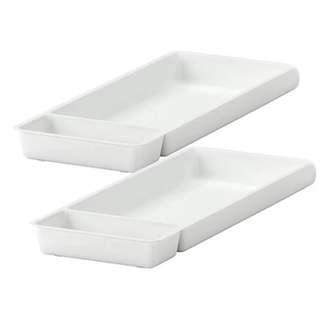 SHOW-WF Kitchen Drawer Dividers Cutlery Tray with Compartments,Plastic Drawer Insert Organizer for Utensils/Craft Supplies/Jewellery, White,20X50cm