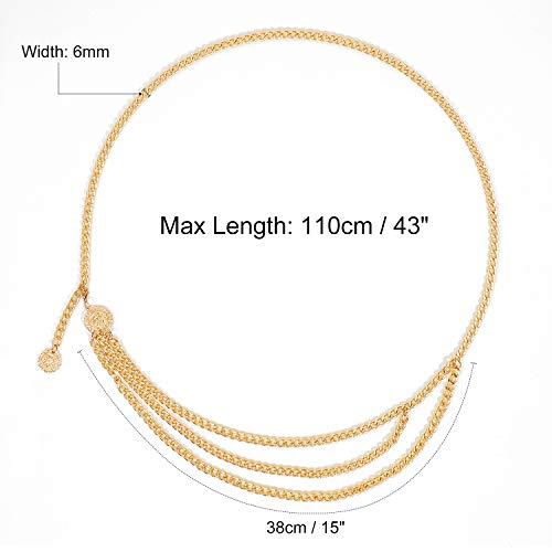 Sexy Bikini Beach Multilayer Metal Waist Chain Women Girls Adjustable Body Link Belts Fashion Belly Jewelry for Jeans Dresses Gold