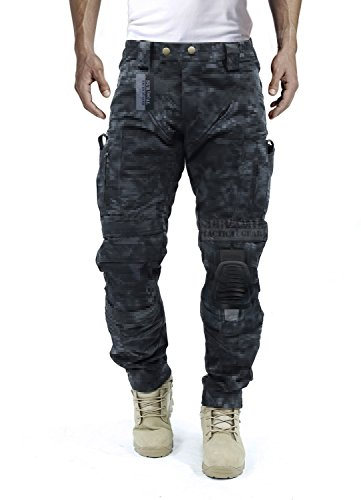 (Survival Tactical Gear Men's Airsoft Wargame Tactical Pants with Knee Protection System & Air Circulation System (Typhon Camo, L))