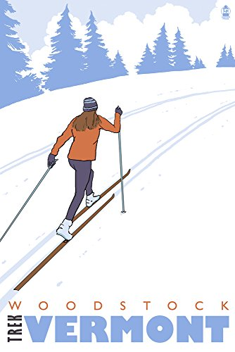 Cross Country Skier - Woodstock, Vermont (16x24 SIGNED Print Master Giclee Print w/Certificate of Authenticity - Wall Decor Travel - Cross Woodstock