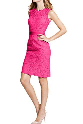 Spitze Rundkragen Ivydressing Dunkelrosa Abendkleid Etui Linie Festkleid Damen wHHxTFA