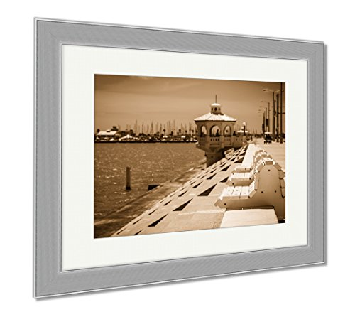 Ashley Framed Prints Corpus Christi Texas Coastal City On The Gulf Of Mexico With Deep Perspective, Wall Art Home Decoration, Sepia, 34x40 (frame size), Silver Frame, - Cities On The Gulf Texas