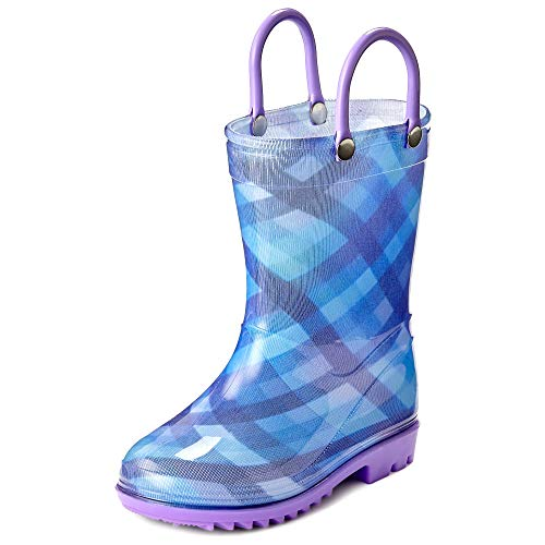 Puddle Play Toddler and Kids Waterproof Rain Boots with Easy-On Handles Boys and Girls Plaid Colors