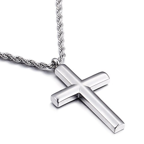 Molike Simple Stainless Steel Cross Pendant Necklace for Men Women, 20''-24'' Twist Rope Chain, Silver/Gold (Silver Pendant + 20'' Twist Rope Chain)