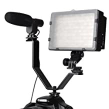 CowboyStudio Dual Mount Bracket for Video Lights and Microphones on Cameras and Camcorders