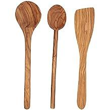 Scanwood Olive Wood Utensil (Spatula Spoon Ladle 3 Piece Set 12 Inch)