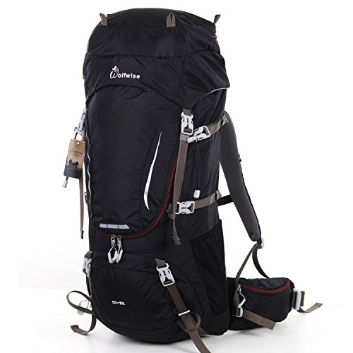 WolfWise 65L(55+10) Large Internal Frame Backpack Camping Gear Backpacks Backpacking for Travel Hunting Hiking