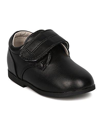 Boys Velcro Dress Shoe (Infant Boy / Toddler Boy) - Dress Up Formal Boys Walker - Uniform Shoe - HB59 By Auston Collection - Black Leatherette (Size: Toddler (Baby Hazel And Halloween Night)