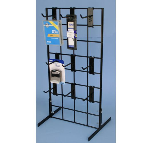 Counter Top Gridwall Display Unit, 24'' x 12'' Tabletop Grid with [9] 4'' D Grid Hooks, Black, 1 Unit by STORE FIXTURES DIRECT (Image #1)