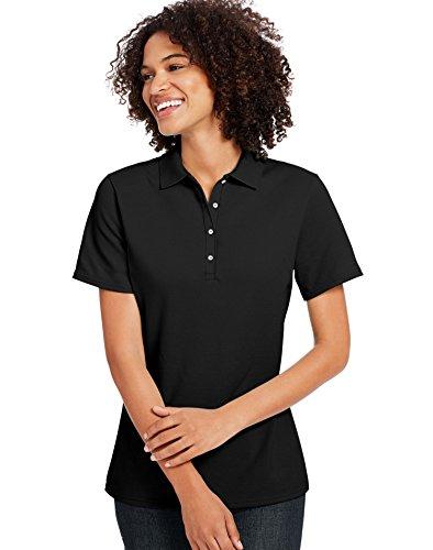 Hanes Ladies' 6.5 oz. X-Temp Piqué Short-Sleeve Polo with Fresh IQ XL BLACK