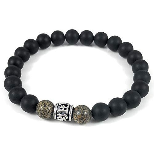Ballari Mens Matte Onyx Bead Bracelet, 8mm Black Onyx Elastic Bracelet for Men, Tibetan Buddhist Prayer Bead Bracelet, Root Chakra Healing Bracelet (Bali Bead Bracelet)