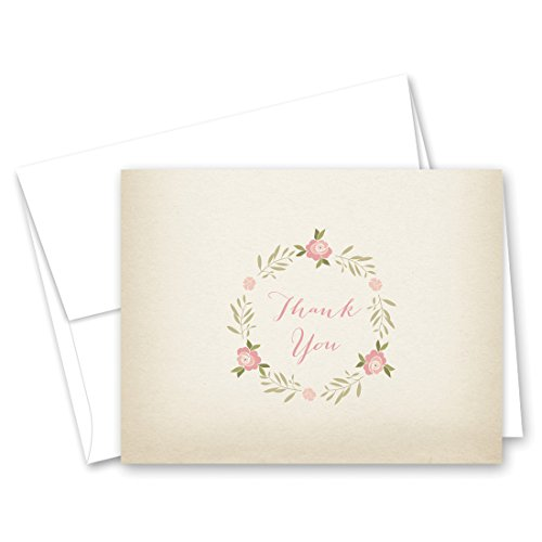 50 Cnt Rose Wreath Baby Thank You Cards (Rustic)