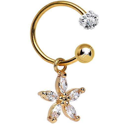 Belly Button Ring Body Candy (Body Candy Gold Anodized Steel Clear Dazzling Daisy Dangle Circular Barbell Belly Ring 16)