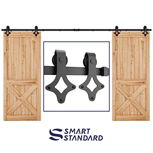 SMARTSTANDARD 12ft Heavy Duty Double Door Sliding Barn Door Hardware Kit -Smoothly and Quietly -Easy to Install -Includes Step-by-Step Installation Instruction Fit 36