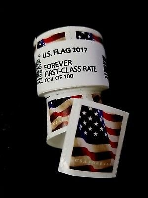 USPS Forever Stamps, Coil of 100 US Flag Postage Stamps (2017 or 2018 Roll)