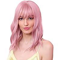 12 '' Mulheres Meninas Ondulado Peruca Resistente Ao Calor Ombro Comprimento Peruca W/Flat Bang Pink