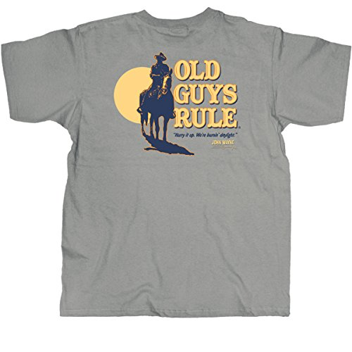 Old Guys Rule Mens John Wayne Burning Daylight T-Shirt Large Gravel