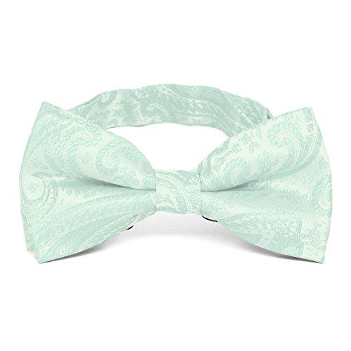 TieMart Seafoam Clara Paisley Band Collar Bow Tie