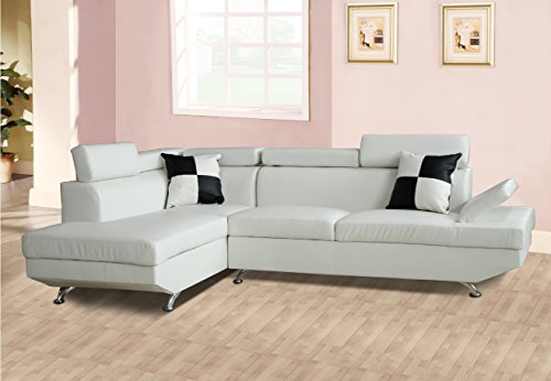 Lifestyle Furniture Genoa Left Hand Facing Sectional Sofa, White