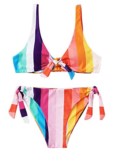 Floerns Women's Striped Knot Front Top Swimsuits Bikini Set Multi XL ()