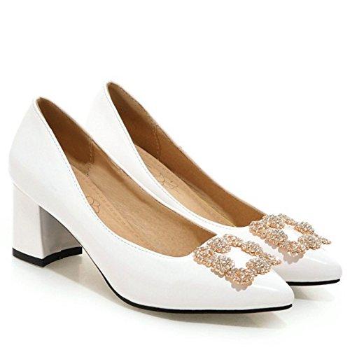 Blanc Moyen Brevet Femme Enfiler A Talon Basse Chaussures Elegant Chaussures TAOFFEN 0vZqxwgpw