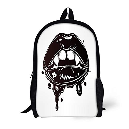 Pinbeam Backpack Travel Daypack Sexy Female Vampire Lips Fangs and Dripping Blood Waterproof School -